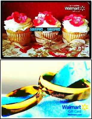 2x WALMART CHRISTMAS CUPCAKES & GOLD WEDDING RING COLLECTIBLE GIFT CARD LOT