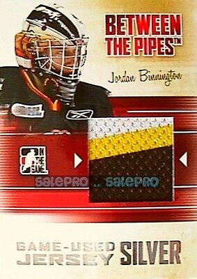 Itg Between The Pipes 2010 Jordan Binnington Rc Rookie Game Jersey Silver 3C /60