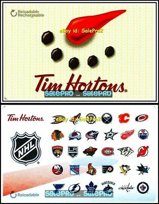 2x TIM HORTON COFFEE BEANS & NHL HOCKEY TEAMS LOGO COLLECTIBLE GIFT CARD LOT