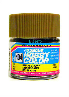 Mr Hobby Gunze Aqueous Color Acrylic H404 KHAKI BROWN Model Paint 10ml US New