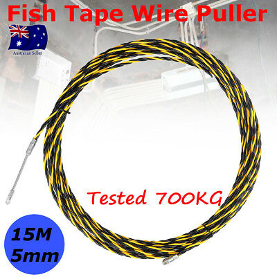 15M 5mm Cable Wire Push Puller Rodder Conduit Snake Fish Tape Rod Tested