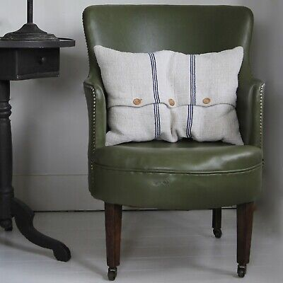 stylish victorian leatherette tub chair, studded, green with castors