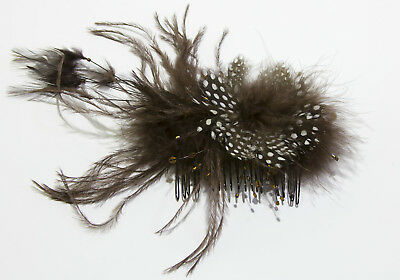 Brown Spotted Feather Bead Fascinator on Comb