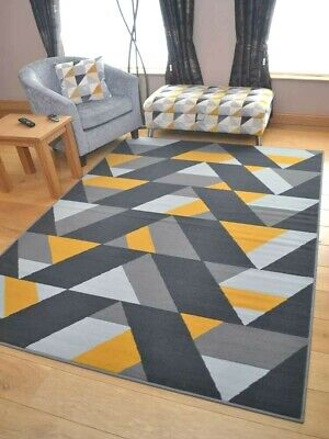 Ochre Mustard Gold Silver Grey Triangle Small Extra Large Long Carpet Rugs Cheap