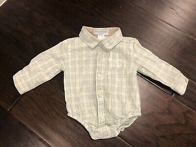 Janie And Jack Baby Boy Long Sleeve Button Down Shirt Bodysuit 3-6 Months