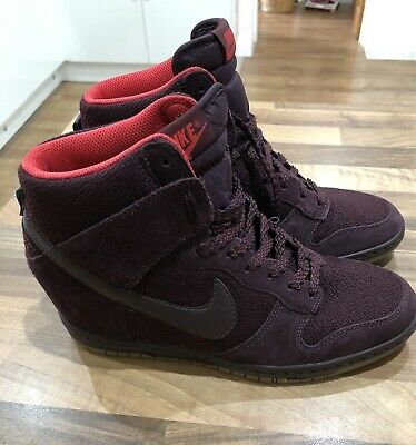 sports shoes 2cdcc 79665 Nike Dunk Sky Hi Hidden Wedge Burgundy Trainers Boots Shoes Size 6 39 Retro