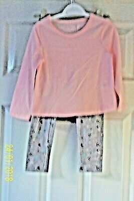 Girls Set 2 - 4 Yrs Pink Top & Grey Leggings With Pink, Turquoise & Black Bnwt