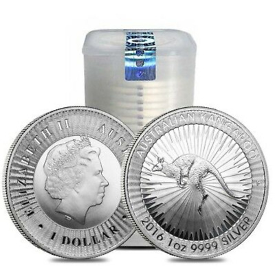 Tube of 25 - 2016-P Australia Perth Mint 1 oz Silver $1 Kangaroo (Lot, Roll)