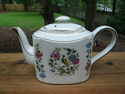 ARTHUR WOOD MADE IN ENGAND WINTON DONEGAL TEAPOT ANTIQUE w/ GOLD TRIM FLOWERS