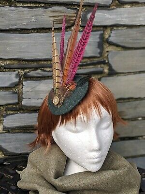 Tweed & Pheasant Feather Green & Pink Fascinator. Perfect for Races - Wedding