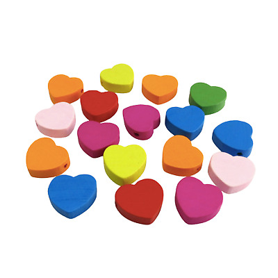 50Pcs 18Mm Rainbow Multi Coloured Heart Shaped Wooden Beads For Jellery Making