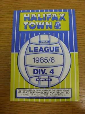 16/11/1985 Halifax Town v Scunthorpe United [FA Cup] . Faults with this item sho
