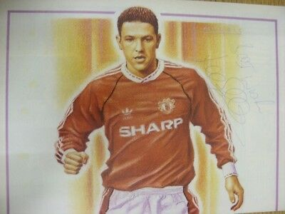 c1990-00's Autographed Poster: Manchester United - Sharpe, Lee (Drawing/Caricatu