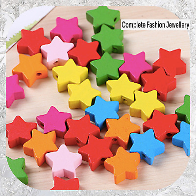 50Pcs 15Mm Rainbow Multi Coloured Star Shaped  Wooden Beads For Jewellery Making
