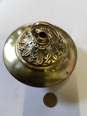 LARGE 105mm CEILING ROSE chandelier hook FRENCH brass VINTAGE old c1930 4 avail