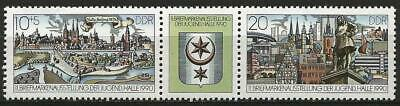 Germany (East) DDR GDR 1990 MNH - Youth Stamp Exhibition Halle se-tenant label