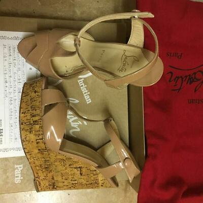 b202bbdaa0 CHRISTIAN LOUBOUTIN SANDALS Wedge Beige Patent Leather EU 38 / US 7.5 / UK 5
