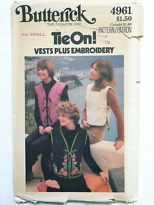 Ladies Uncut Vintage Waistcoat Floral Embroidery Pattern Sz Small Bust 31.5-32.5