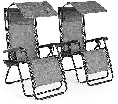 VonHaus Set of 2 Textoline Zero Gravity Chairs with Canopy - Outdoor Lounger