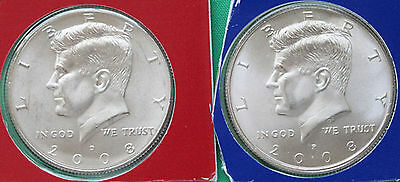2008 P & D Kennedy Half Dollar Coin from US Mint Set 2 BU Cello Fifty Cent 50c