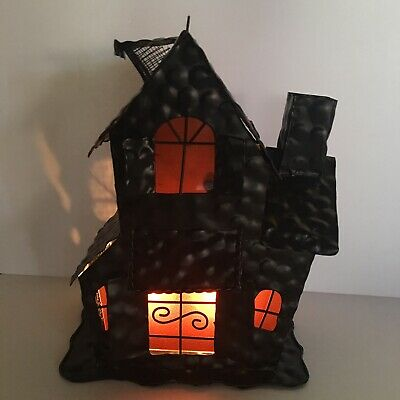 3010c26d0a HAUNTED HOUSE BLACK Metal Halloween Votive Candle Holder ***So Cute ...