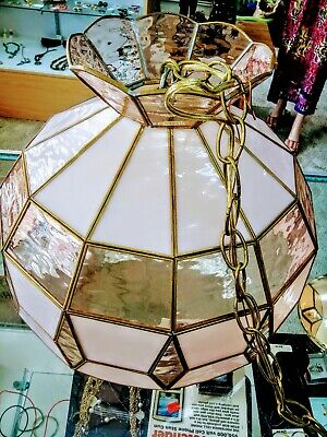 Vintage Tiffany Style Lamp Hanging Ceiling Chan. Stained Glass with brass frame.