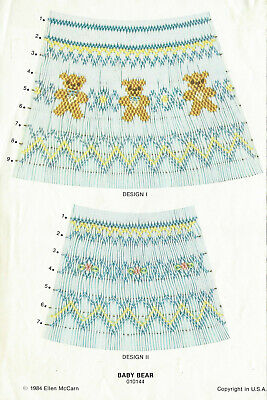 BABY BEAR Child's SMOCKING Design Plate 010144 ©1984 Ellen McCarn Embroidery