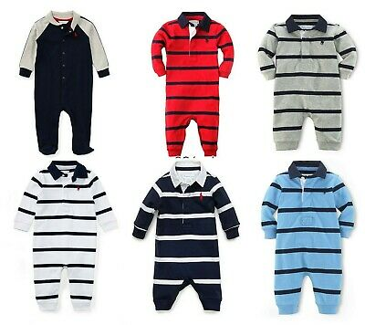 Ralph Lauren Baby boy Red Blue Navy Striped Babygrow Sleepsuit 3 to 12 Months