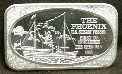 1973 USSC The Phoenix US Steam Vessel 999 Fine 1 Troy Oz Silver Art Bar Ingot
