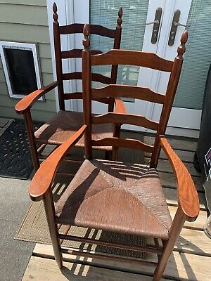 2 VTG Shaker Ladder Back Chairs w/Arms Walnut Or Oak Rush Seats Flame Finial