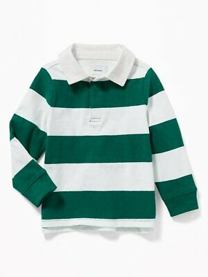 NWT OLD NAVY BOYS RUGBY POLO SHIRT TOP  green white stripe    u pick size