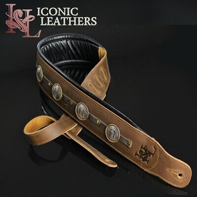 "Iconic CUSTOM SHOP Conchos 3.25"" Leather Padded Brown Guitar or Bass Strap #3"