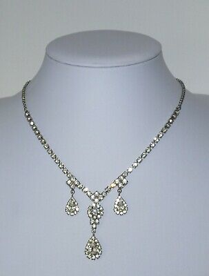 Beautiful Art Deco Style Clear Stones Necklace. Bridal.