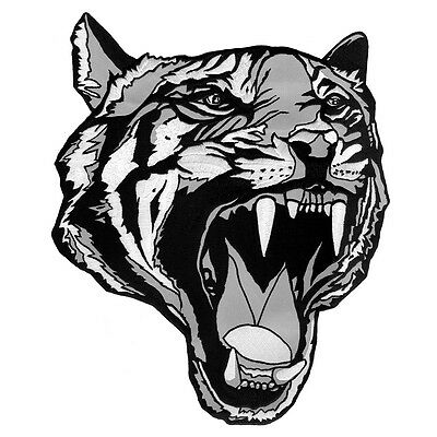 040445fd61b0a Vegasbee® Large Tiger Head Tattoo Black-White Embroidered Iron-On Patch 12