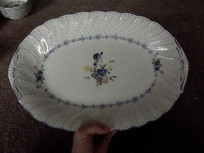 """14"""" Serving Platter Oval Entree, Nikko Blossom Time Blue peony floral fine china"""