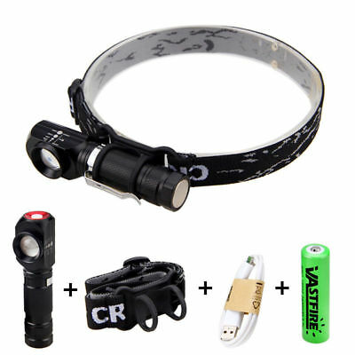 1000LM Adjustable XM-L T6 Headlight Right Angle Flashlight Camping Torch Lamp