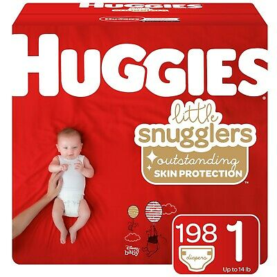 Huggies Little Snugglers Baby Diapers, Size 1 (up to 14 lb.), 198 Ct, Economy Pl