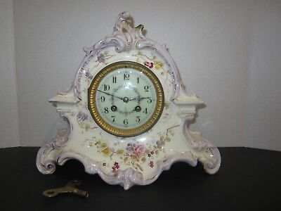 Antique French Marti Et Cie. Porcelain Clock,  8 Day, Time And Strike