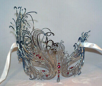 Swan Masquerade Masks Silver Laser Cut Venetian Mask with Sparking PINK Crystals