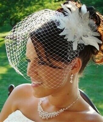 Birdcage Veil and Flower Feather Fascinator Set Bridal Hair Accessories