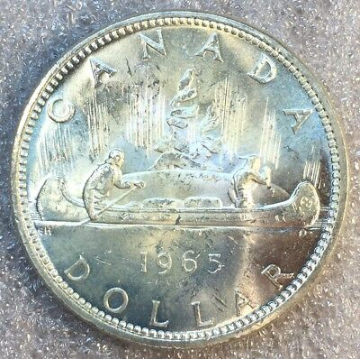 BU Unc 1965 Canada Silver Dollar From Mint Roll Coin Type 4 Variety Pointed 5 #6