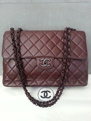 abe482286158 Chanel JUMBO SINGLE VINTAGE Oxblood Burgundy Red Classic Chain Bag-- AUTHENTIC