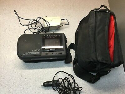 Sony Color Watchman TV AM/FM Radio stereo receiver FDL-380 Power Source & Case