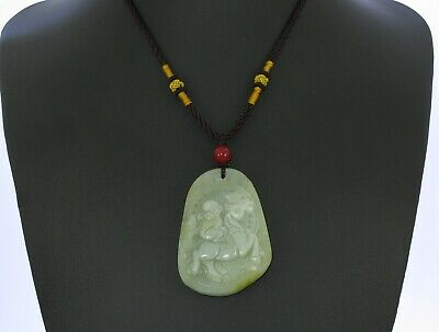 "2.2"" China Certified Nature Hetian Nephrite Jade Lucky Monkey and Horse Necklace"