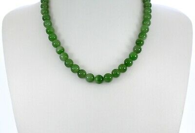 "0.37""China Certified Nature Hetian Nephrite Green Jade Round Beads Necklace 3276"
