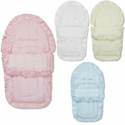 Broderie Anglaise Car Seat Footmuff / Cosy Toes Baby Compatible with Bebecar