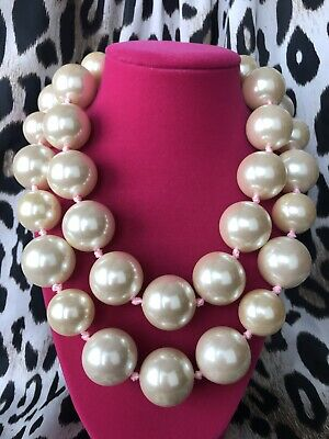 Betsey Johnson Vintage HUGE Pearl Double Strand Rose Gold Pink Necklace RARE