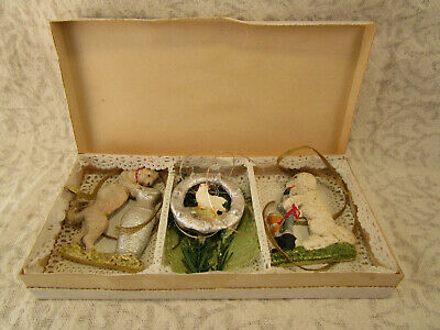 Antique 3 German Christmas Ornaments Christmas Tree Orig Boxed