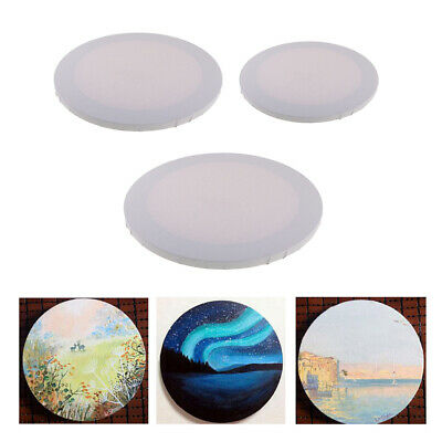 3pcs White Round Shape Blank Canvas Wooden Frame for Oil Acrylic Painting