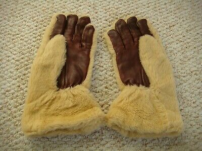 Original Vintage 1940's Leather & Faux Fur  Gauntlet Teddy Bear Gloves Size 7